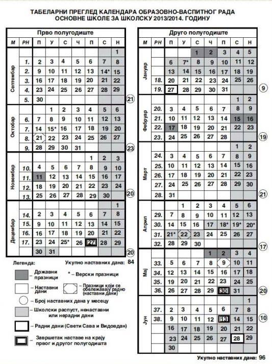 Календар рада за школску 2013/2014. годину